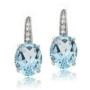 Jewelry - Blue Topaz Gemstone Pav'e Earrings in 18K Gold